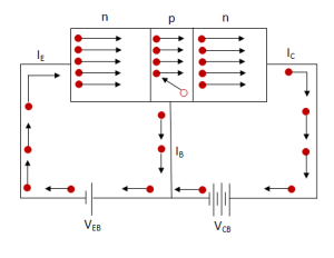 Working of npn transistor