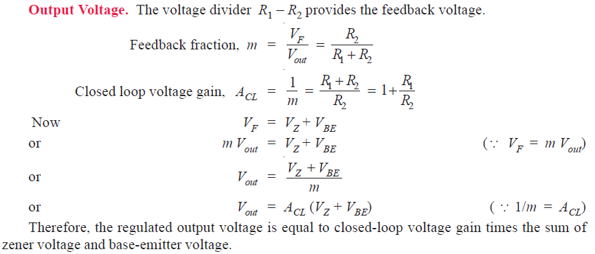 Output voltage of series feedback voltage regulator
