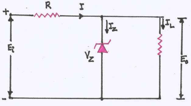 explain with a circuit diagram  the use of a zener diode as a reference diode