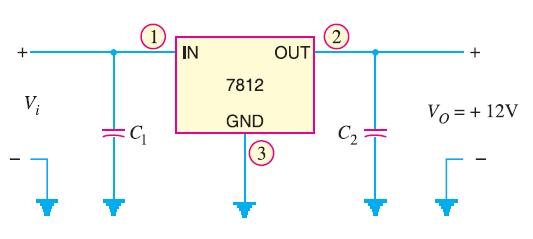 Circuit Diagram of Fixed Positive Voltage Regulator
