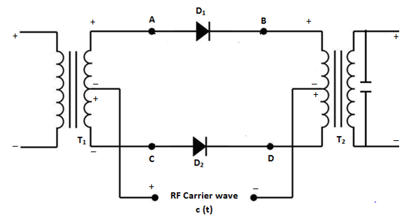 Equivalent circuit in positive half cycle of moulating signal with carrier positive