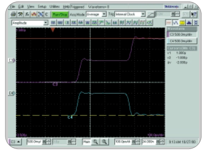 Time domain reflectometry (TDR) display from a TDS8000 digital sampling oscilloscope and 80E04 20-GHz sampling module.